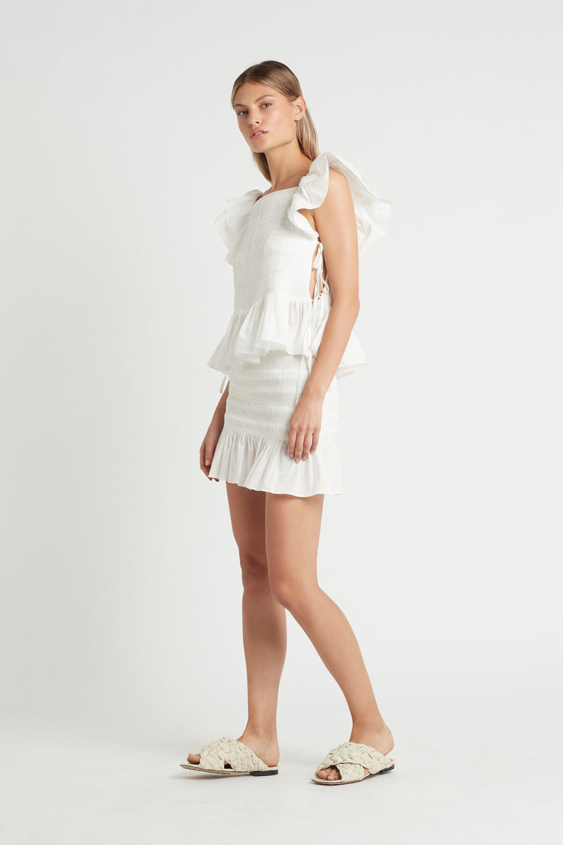 SIR the label CECIL SMOCKED MINI SKIRT IVORY