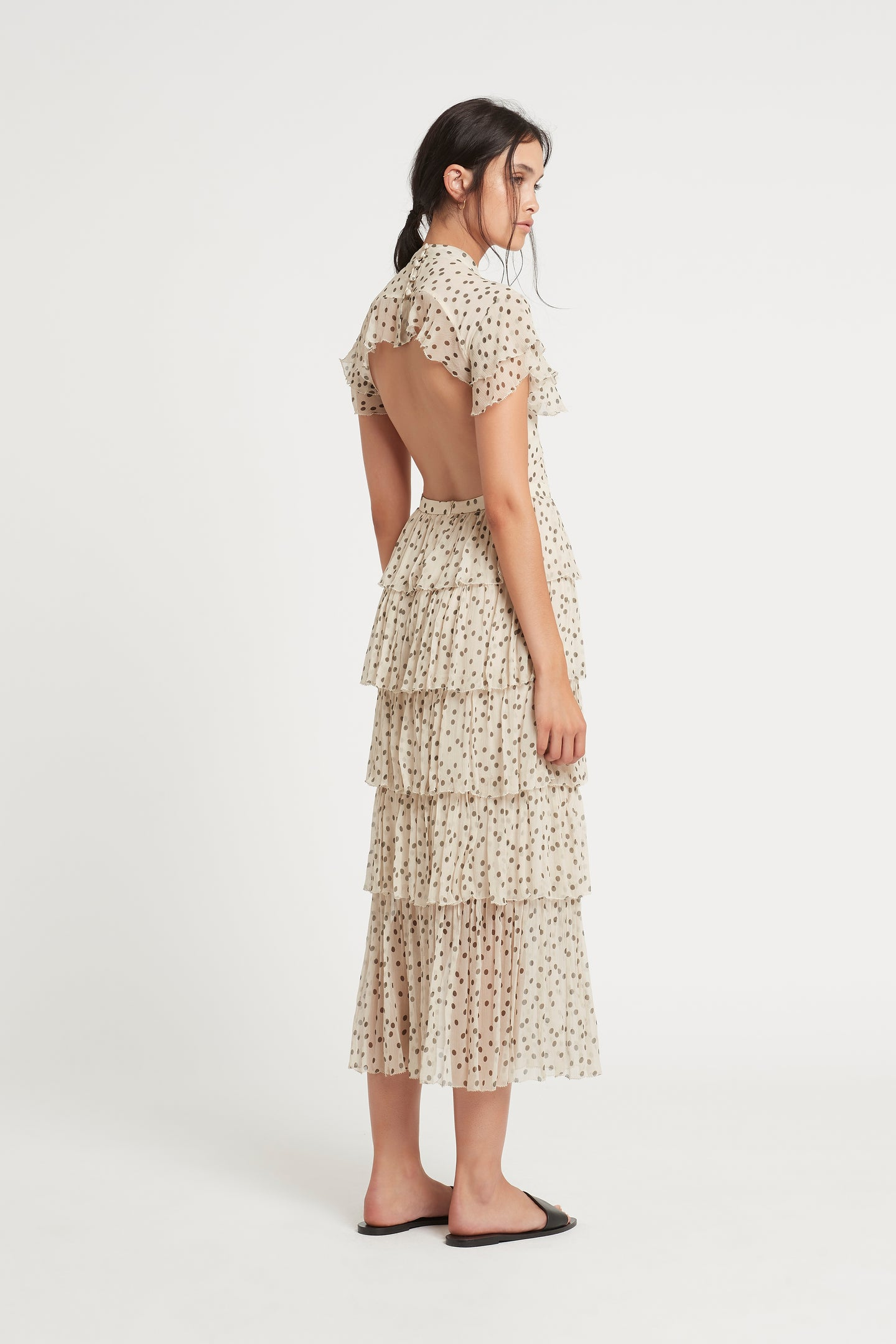 SIR the label ISABELLA TIERED GOWN BONE POLKA DOT