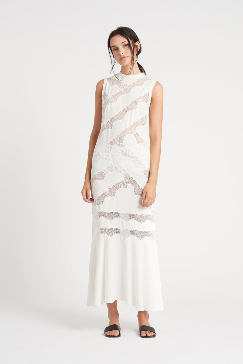 SIR the label ALMA PANELLED GOWN IVORY