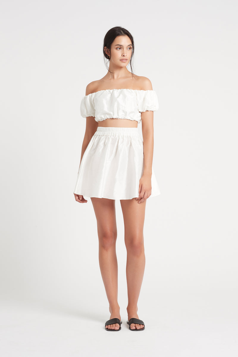 SIR the label VALETTA OFF SHOULDER CROP WHITE