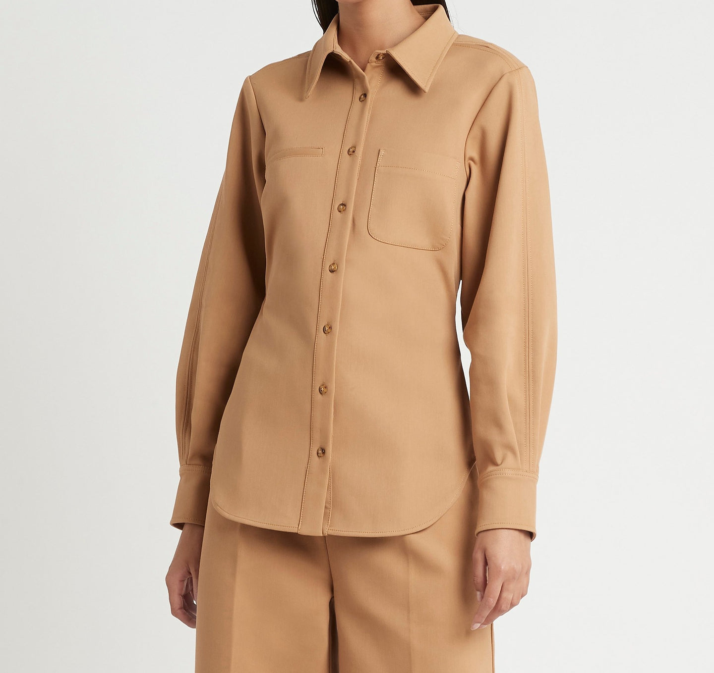 SIR the label ANDRE OPEN BACK SHIRT CAMEL