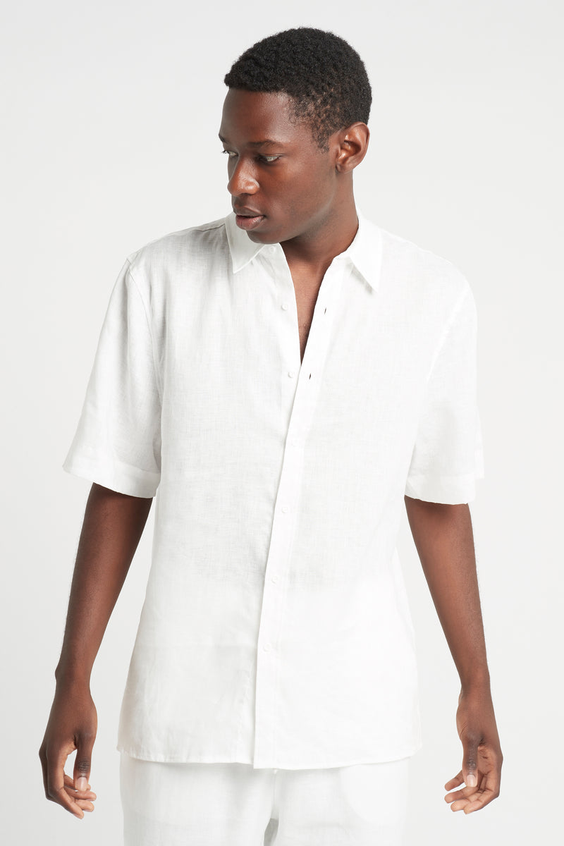 SIR the label FRANCES MENS SHORT SLEEVE SHIRT IVORY