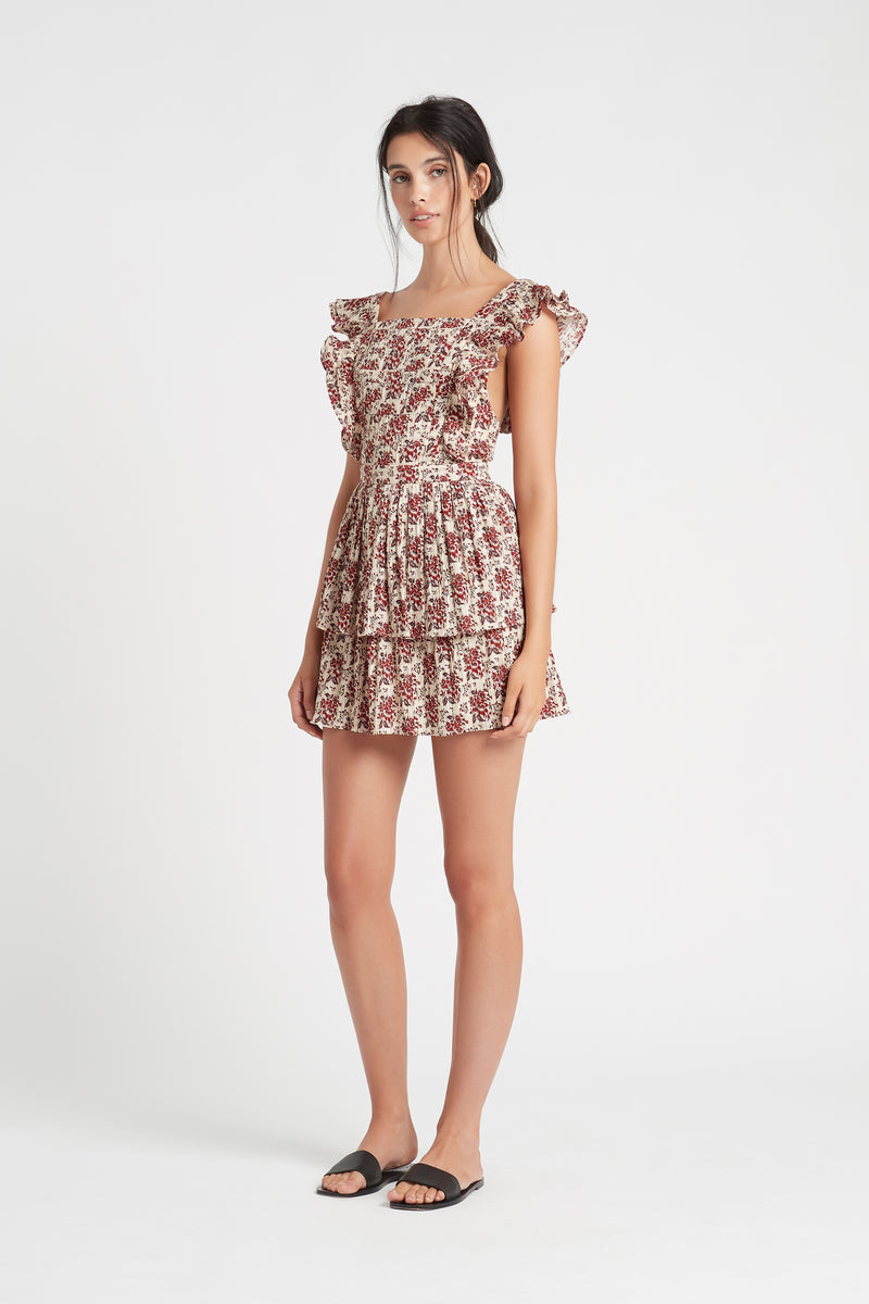 SIR the label FLORÉ RUFFLE MINI DRESS FLORE PRINT