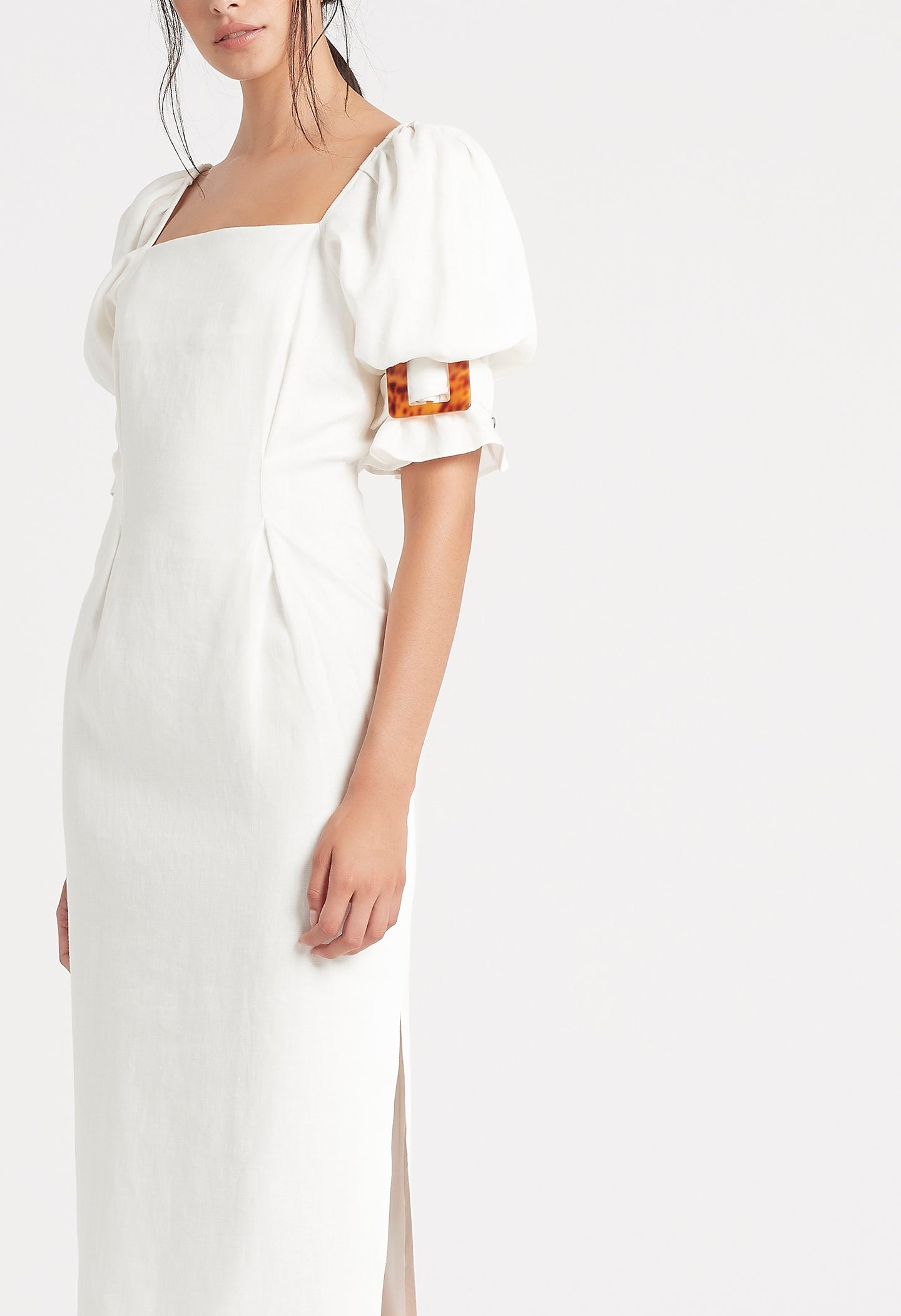 SIR the label PASCALE MIDI DRESS IVORY