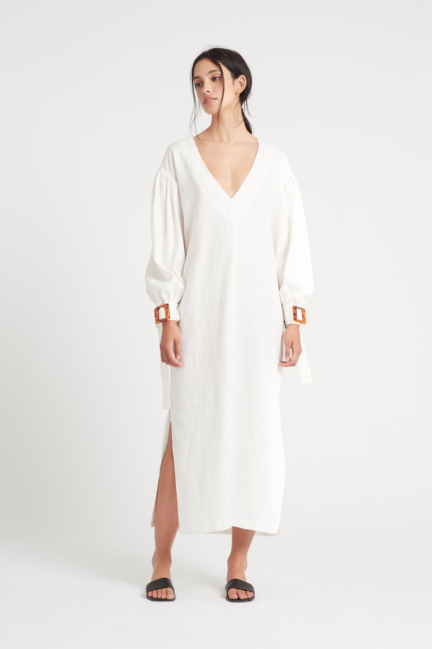 SIR the label PASCALE OVERSIZED MIDI DRESS IVORY