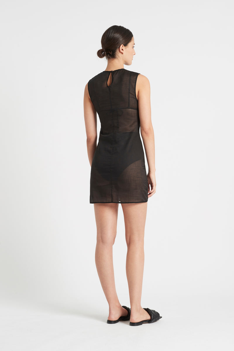 SIR the label ALINA RUCHED MINI DRESS BLACK