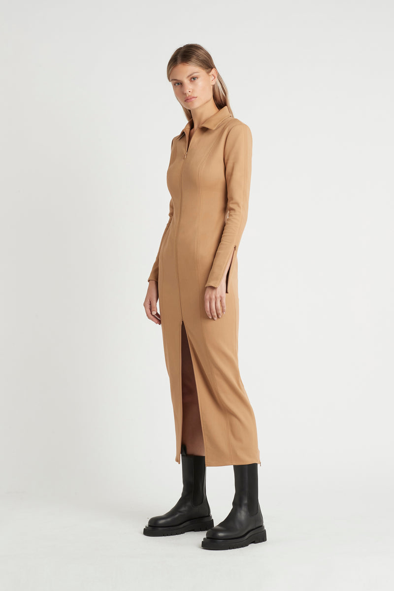ANDRE ZIP MIDI DRESS