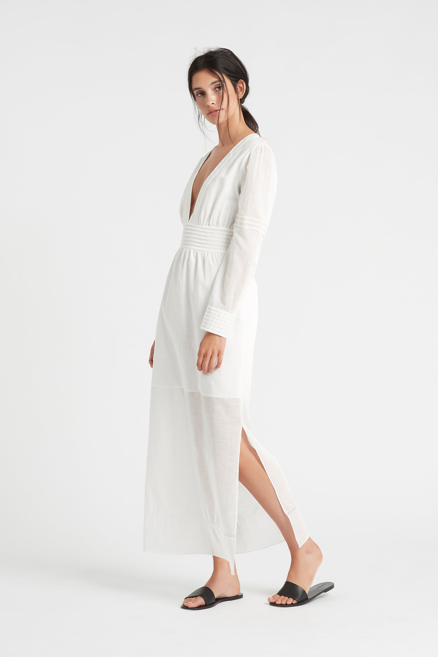 SIR the label CAPRICE LONG SLEEVE MIDI DRESS IVORY