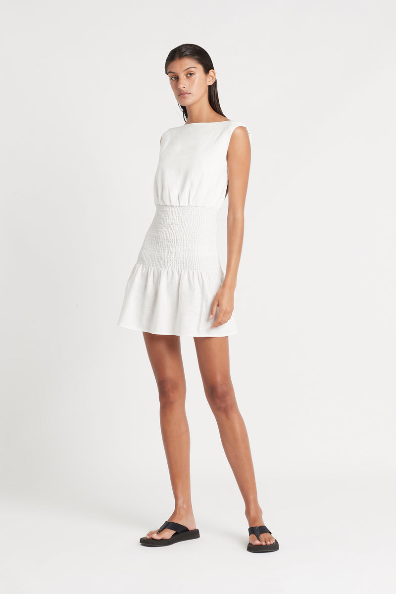 SIR the label LORENA OPEN BACK MINI DRESS IVORY