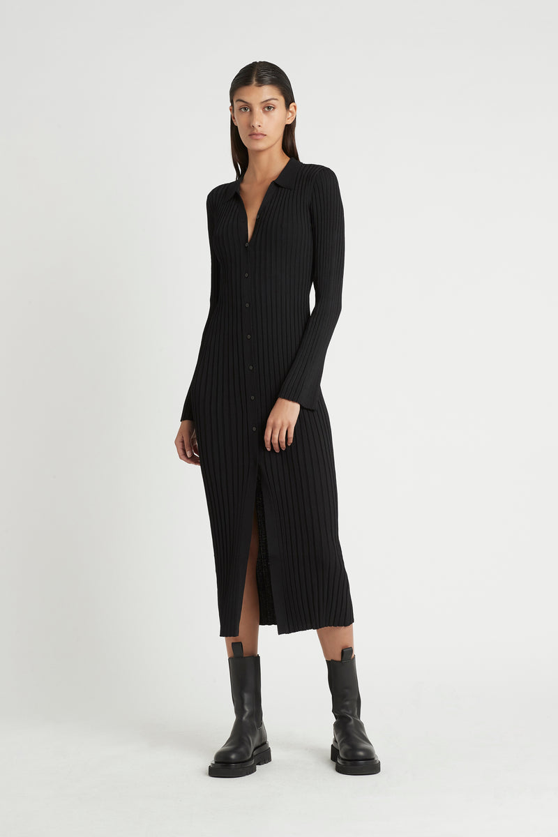 SIR the label LUCCA CARDIGAN DRESS BLACK