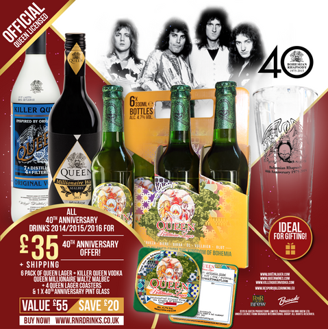 Queen 40th Anniversary Drinks NOW for £35.00!