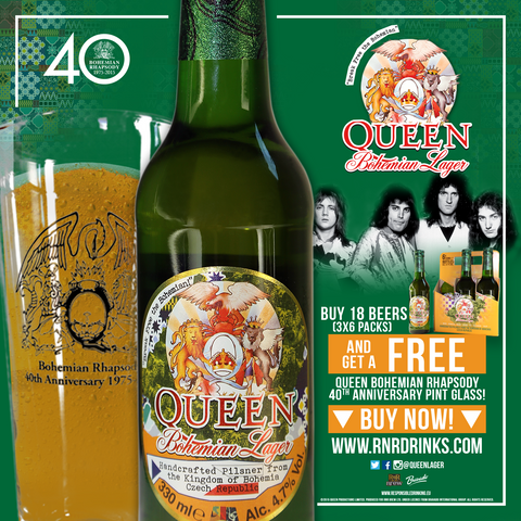 Free Glass with Queen Bohemian Lager 330 ml. x 18 pack  (3 x 6 packs of 330 ml bottles)