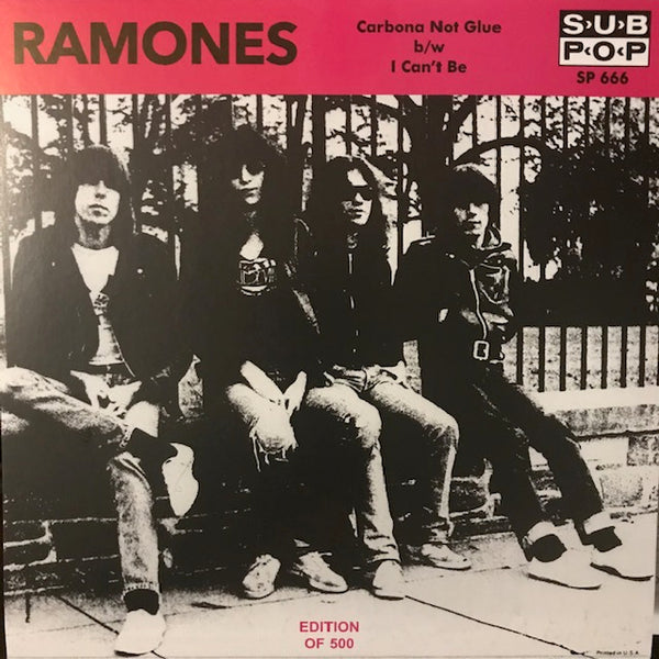 "Ramones - ""Carbona Not Glue"" / ""I Can't Be"" [pink vinyl] - Used 7"""