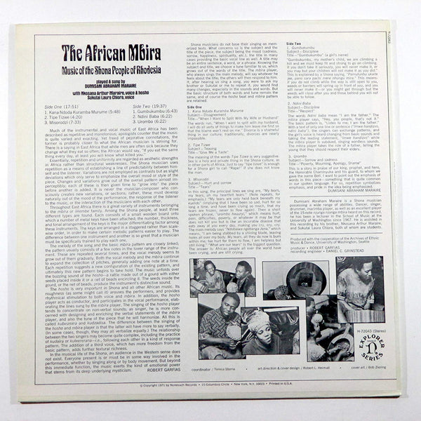 Maraire, Dumisani Abraham ‎– Shona: The African Mbira (Music Of The People Of Rhodesia) - Used LP