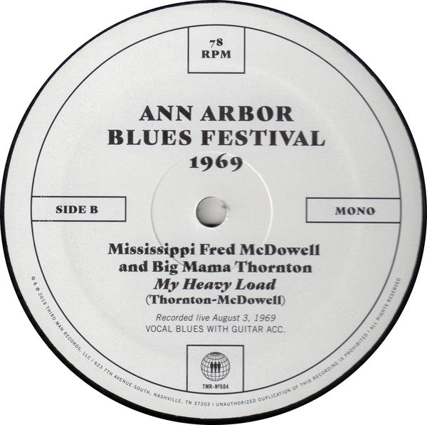 Mississippi Fred McDowell And Big Mama Thornton – Ann Arbor Blues Festival 1969 – Used 10""