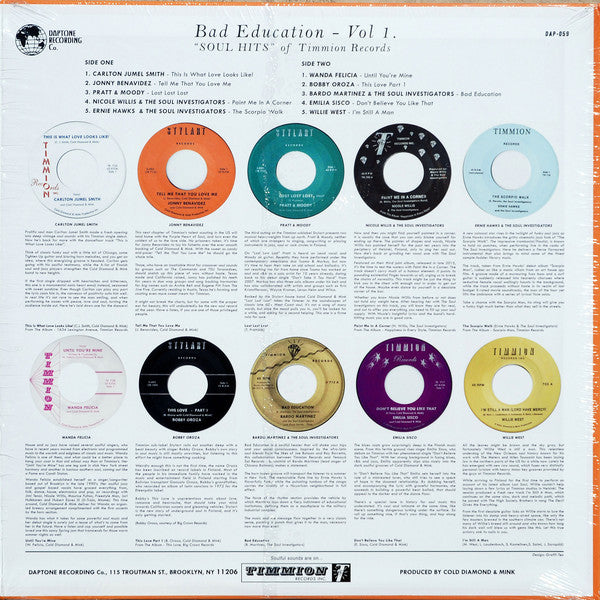Various Artists - Bad Education Vol. 1: Soul Hits of Timmion Records - New LP