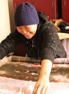 Artists making felted silk scarf (2)