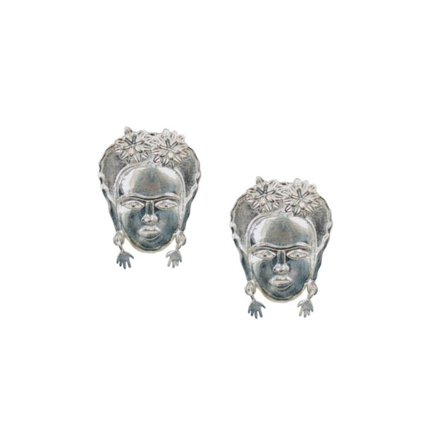 Frida Kahlo Earrings Sterling Silver Studs Ethical Handmade Jewelry from India Global Goods Partners
