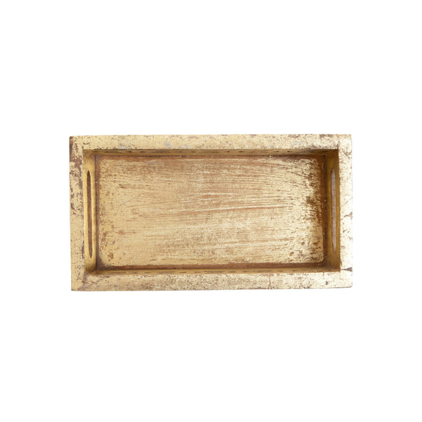 Rectangle wooden box or tray in distressed gold finish. Jali style wood cut design