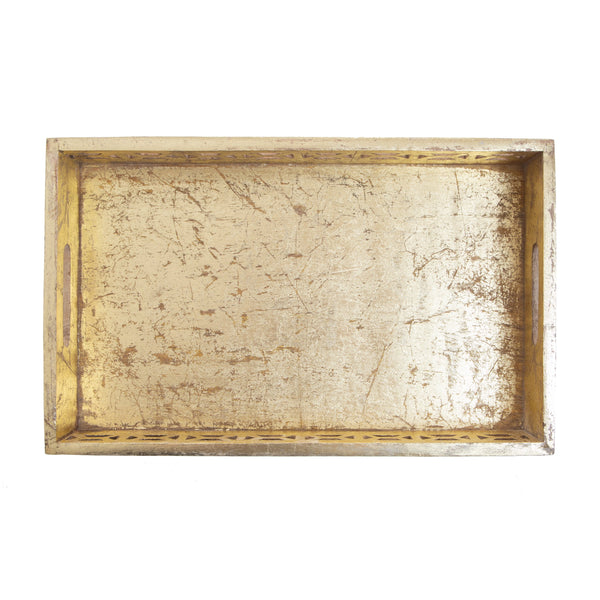 Large Gold Mango Wood Tray
