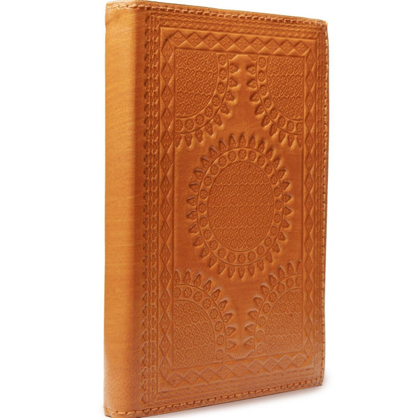 Embossed Leather Journals, Terracotta: handmade India patterned goat leather socially conscious bullet journal