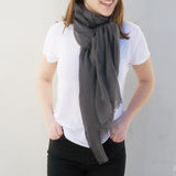 Global Goods Partners | Bela Scarf Wool GC Handmade Nepal Women Artisans Grey Gunmetal Light Musk Scarves Fair Trade Ethical Conscious Super Soft Winter Warm Wrap Gifts That Give Back