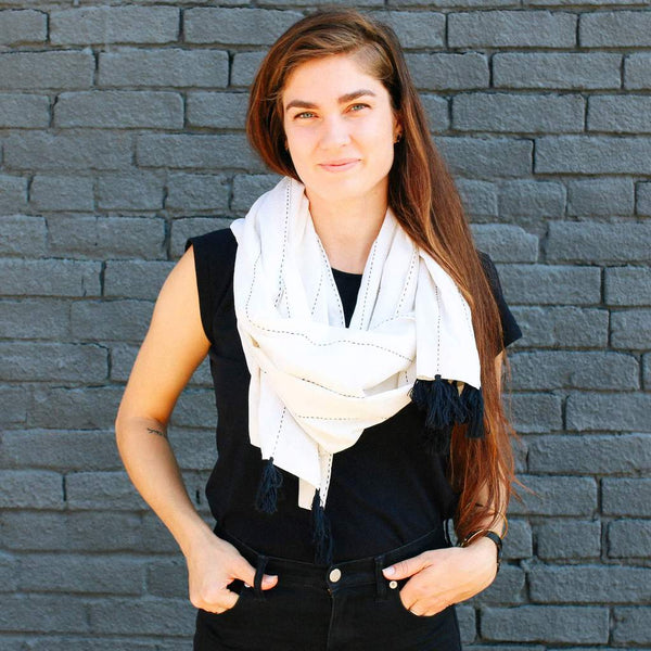 Tassel Scarf Handmade by Women Artisans in India | Global Goods Partners White Color Black Tassel Unique Design Scarf for Mom Giving Back Gifts Idea Fair Trade Social Impact Empowerment Women