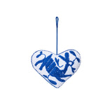 blue rabbit embroidered cotton heart ornament, Global Goods Partners, handmade in Mexico