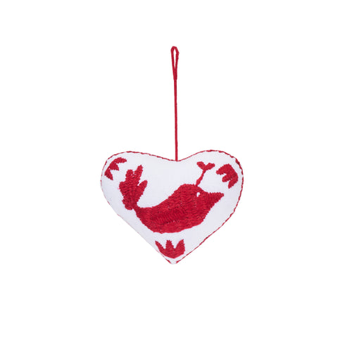 red bird embroidered cotton heart ornament, Global Goods Partners, handmade in Mexico