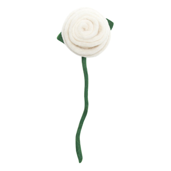 Fair Trade Felt Tea Roses, white: Handmade in Nepal trafficked women Global Goods Partners bouquet