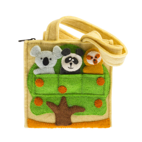 Felt Forest Pals Puppet Bag: Handmade in Nepal children play finger puppets