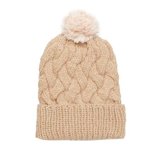 Cream Pom Pom Cable Knit Beanie