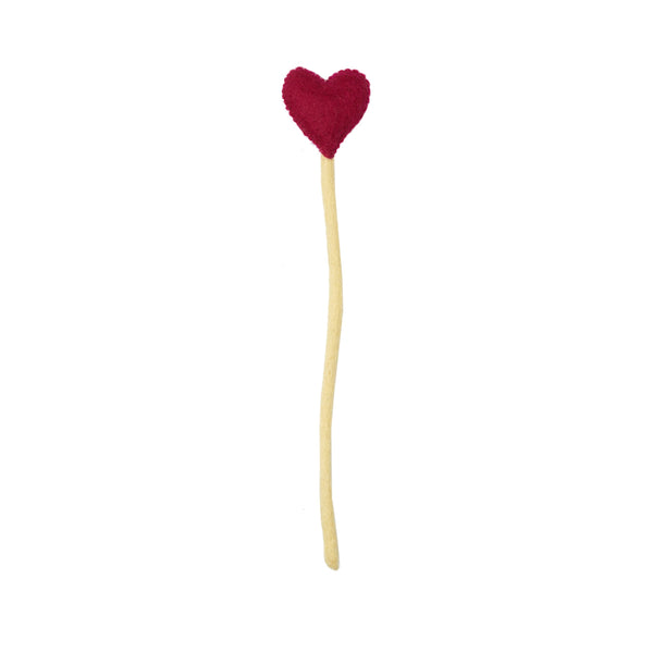Magenta Heart Stems Sticks Handmade in Nepal women artisans | Global Goods Partners handcrafted wool adjustable stem home decor valentine's day gifts idea for women empower giving back