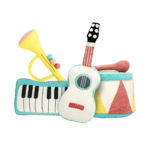 Felt Musical Instruments Handmade in Nepal women artisans | Global Goods Partners fair trade wool music toys for kids gifts idea babyshower singer musician artist sustainability conscious purchase eco-friendly