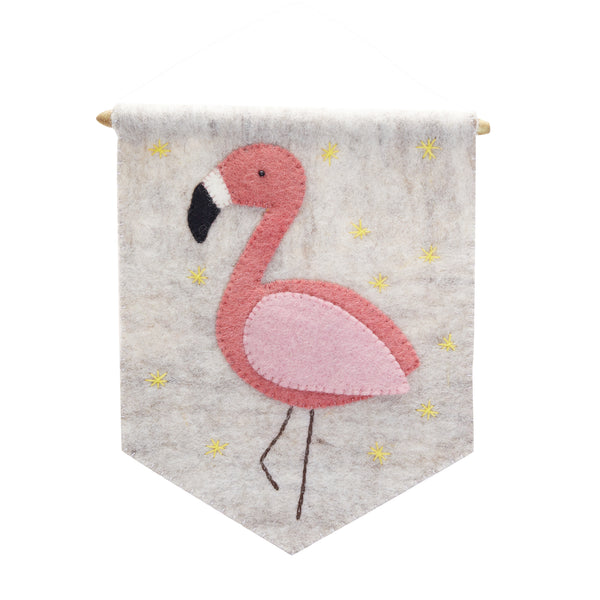 Pink flamingo banner with grey background. Felted wool with a wooden rod.