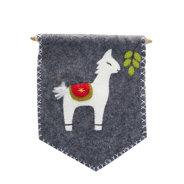 Felt Banner wall decor with a large llama on dark grey background. Red and green details. Wooden rod with a string for easy hanging.