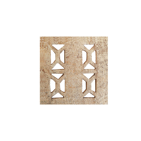Square Gold Mango Wood Coasters, set of 4