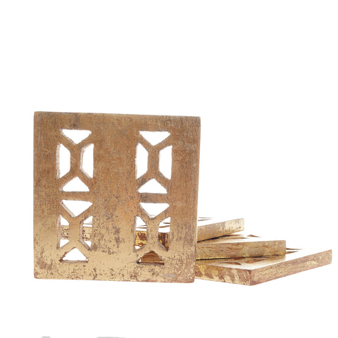 Jali wood coaster set in distressed gold finish. Handmade in India, imported by Global Goods Partners.