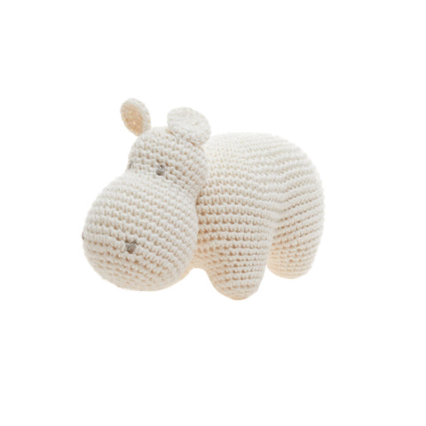 Crocheted Hippo animal plush toy in newborn size. Friendly smiling safari animal made of organic cotton in Peru.