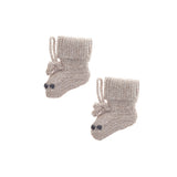 Knit Baby Slippers with bear paw details. Cute gender neutral light brown wool. Fair trade from Peru by Global Goods Partners