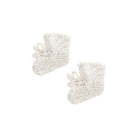 Woollen baby booties socks with adjustable bows. Cream colored all natural alpaca wool.