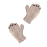 Newborn mittens knit from non-itchy alpaca wool. Bear paw details make this baby apparel irresistable.  Light brown.