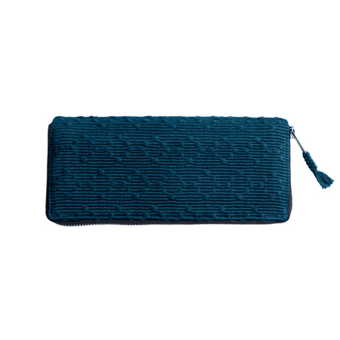 Moroccan Blue Navy Color Brocade Wallet Handmade in Guatemala | Global Goods Partners fair trade women artisans cotton leather unique design unusual gifts idea empower women products mom mother thankful travel