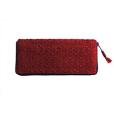Brick Color Brocade Wallet Handmade in Guatemala | Global Goods Partners fair trade women artisans cotton leather unique design unusual gifts idea empower women products mom mother thankful travel