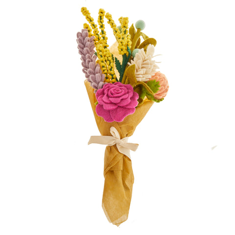 Global Goods Partners GGP Felt Flower Bouquet Nepal Wool Stems Rose Allium Lavender Loupin Baby's Breath Billy Button Gift Set Care Package Tropical Bundle Easy Gift For Her Coronavirus COVID-19