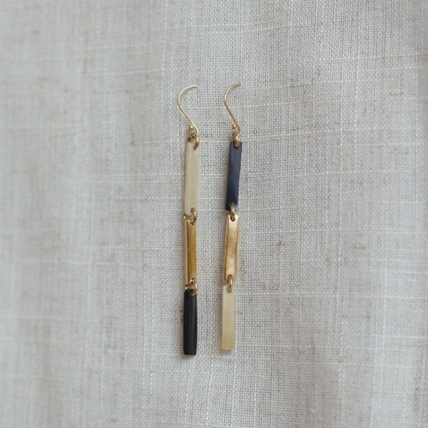 Rectangle earrings, long but lightweight.