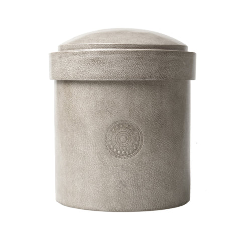 Leather Jewelry Canister, Grey: Handcrafted refugee Burkina Faso jewelry container Leather Jewelry Canister, Grey: Handcrafted refugee Burkina Faso jewelry container Global Goods Partners