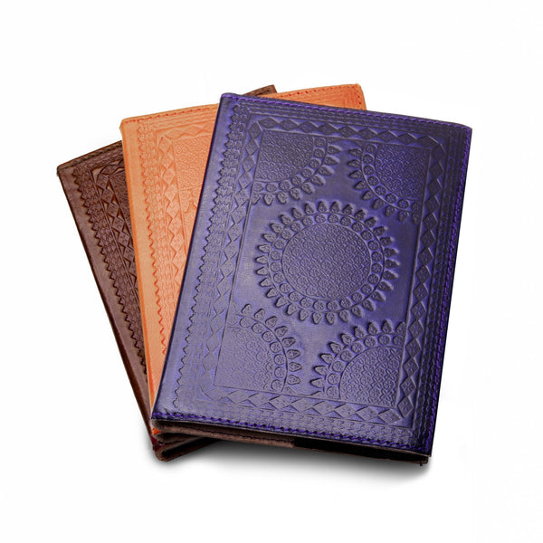 Embossed Leather Journals handmade India patterned goat leather socially conscious bullet journal