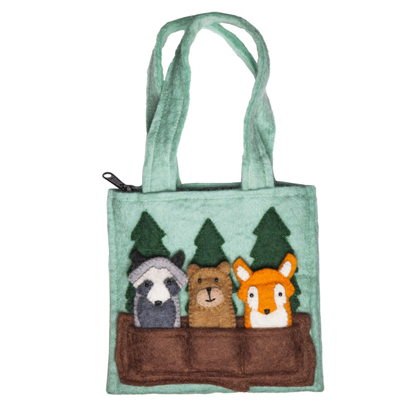 Woodland Friends Kids Puppet Bag: Handmade in Nepal Felted Wool Animals Children