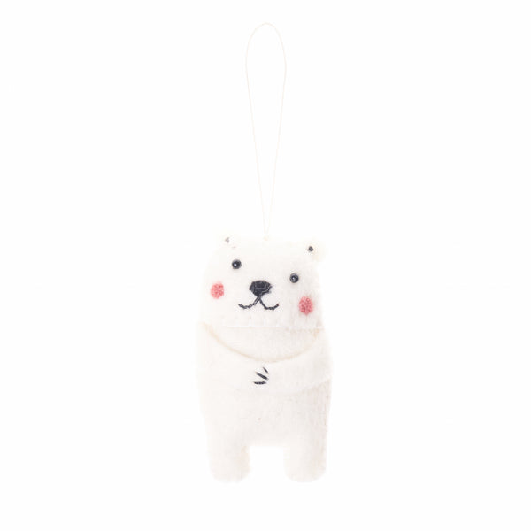 felted wool polar bear ornament, handmade in Nepal, Friends Handicrafts, Global Goods Partners, cute holiday ornaments
